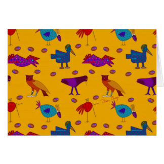 Birds - Abstract Purple Hawks & Blue Chickens Card