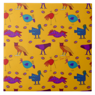 Birds - Abstract Purple Hawks & Blue Chickens Ceramic Tile