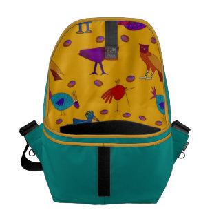 Birds - Abstract Purple Hawks & Blue Chickens Courier Bag