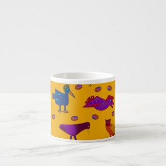 Birds - Abstract Purple Hawks & Blue Chickens Espresso Cup