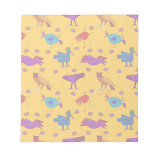 Birds - Abstract Purple Hawks & Blue Chickens Notepad