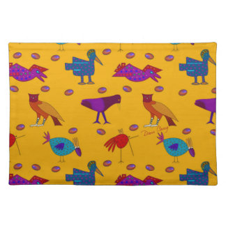 Birds - Abstract Purple Hawks & Blue Chickens Place Mat