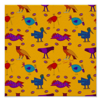 Birds - Abstract Purple Hawks & Blue Chickens Print