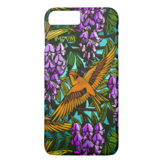 Birds Amidst The Wisteria - Monogrammed iPhone 7 Plus Case