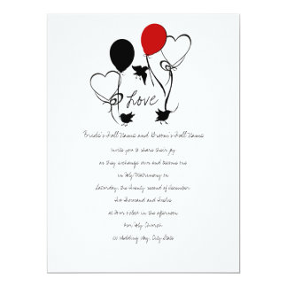 Birds and Balloons Wedding Card