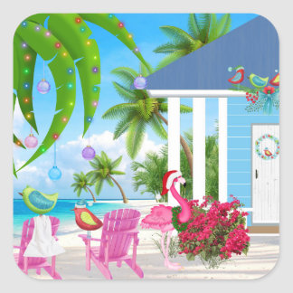 Birds and Beach House Tropical Christmas Holiday Square Sticker