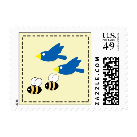 Birds and Bees on Yellow Postage