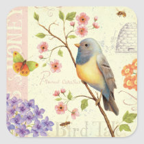 Birds and Bees Square Sticker
