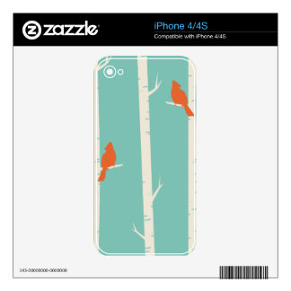 Birds and Birch Trees Decals For iPhone 4S