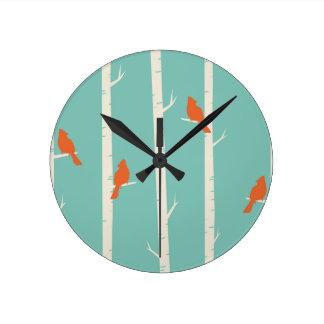 Birds and Birch Trees Round Clock