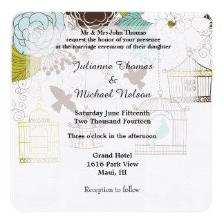 Birds and Bird Cages Wedding Card