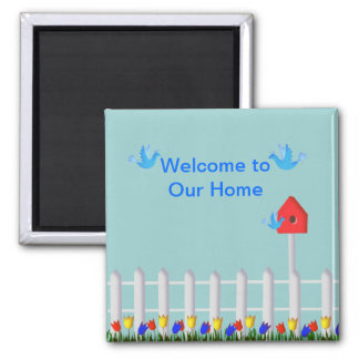 Birds and Birdhouse Welcome to Our Home 2 Inch Square Magnet