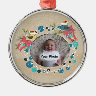 Birds and Bows Christmas Photo Ornament