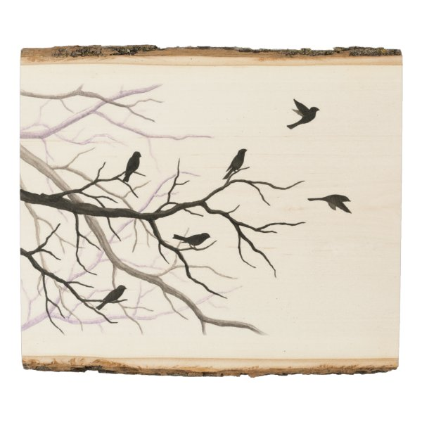 Birds and Branches Nature Art Wood Panel