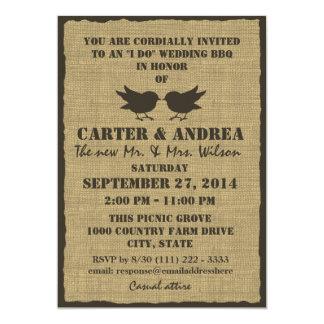 Birds And Burlap BBQ Wedding Reception Card