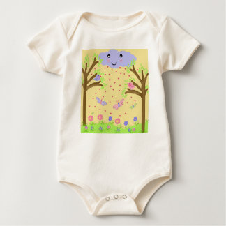 birds and butterflies in the field baby bodysuit