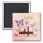 Birds and Butterflies Kindness Matters 2 Inch Square Magnet