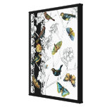 Birds and Butterfly on a Black & White Background Canvas Print