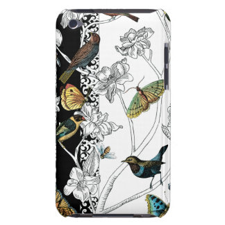 Birds and Butterfly on a Black & White Background iPod Touch Case