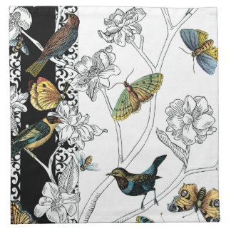 Birds and Butterfly on a Black & White Background Cloth Napkin