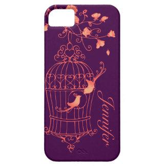 Birds and cage orange & purple name iphone 5 case