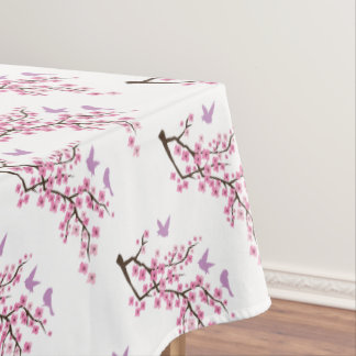 Birds And Cherry Blossoms Tablecloth