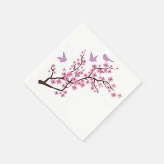Birds and Cherry Blossoms Paper Napkin