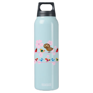 birds and cherry flowers insulated water bottle