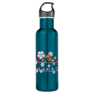 birds and cherry flowers stainless steel water bottle