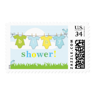 Birds and Clothesline Pastel Baby Shower Postage
