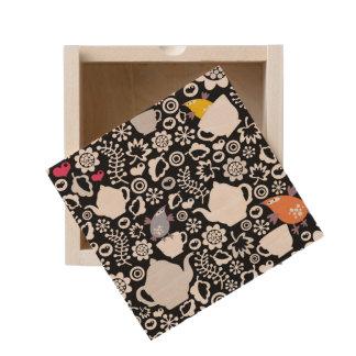 Birds and cups pattern wooden keepsake box
