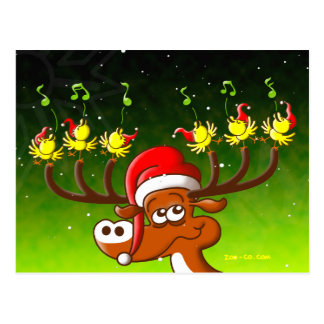 Birds' and Deer's Christmas Celebration Concert Postcard