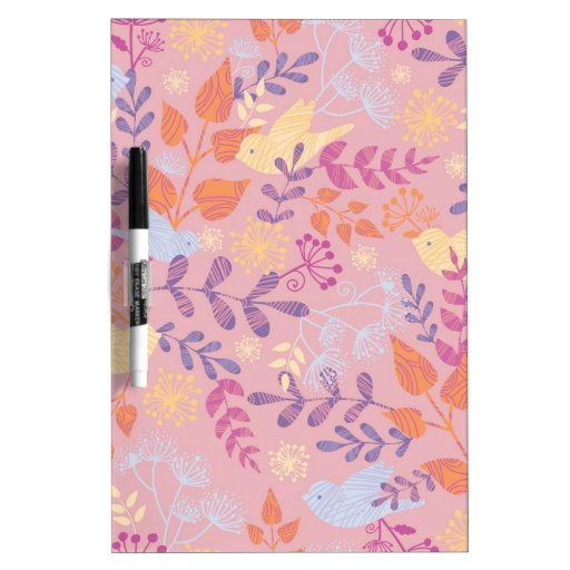 Birds and florals textured pattern Dry-Erase whiteboards