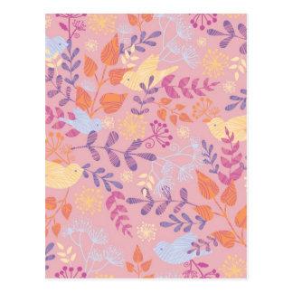 Birds and florals textured pattern postcard