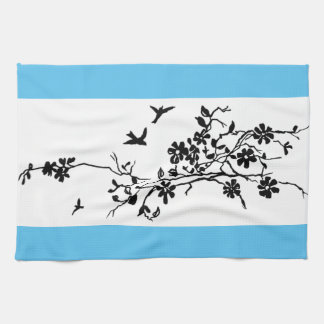 Birds and flowering branches in a 1900 illustratio hand towel