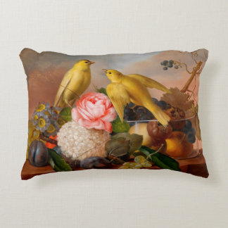 Birds and Flowers Accent Pillow