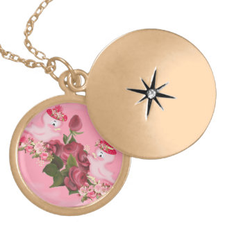 Birds and flowers locket necklace