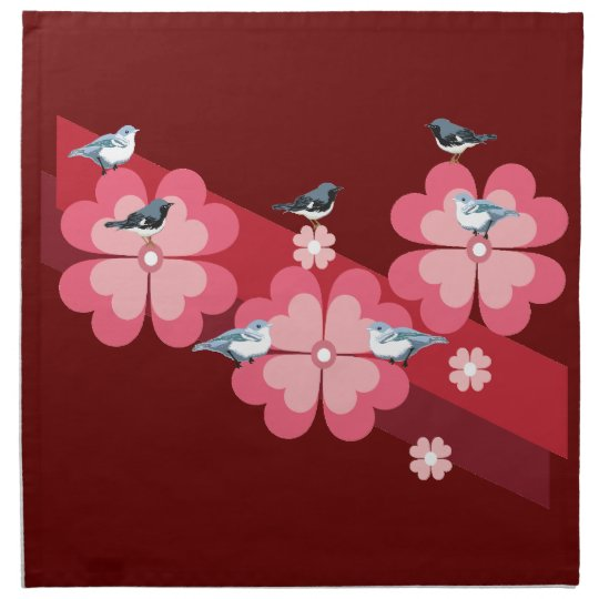 Birds and flowers napkin