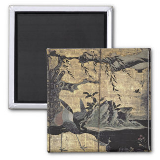 Birds and Flowers of the Four Seasons 2 Inch Square Magnet