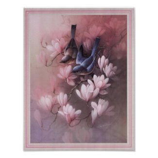 birds and flowers print