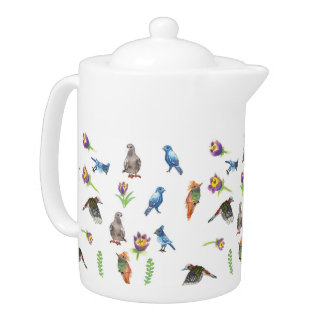 Birds and flowers teapot
