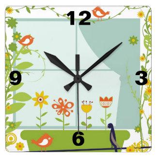 Birds and flowers vector design Clock