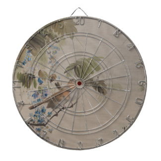 Birds and Flowers - Watanabe Seitei (Japanese) Dartboard With Darts