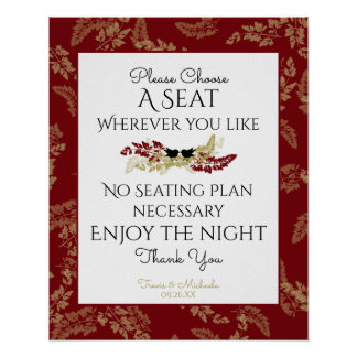 Birds and Gold Foliage Seating Sign Poster