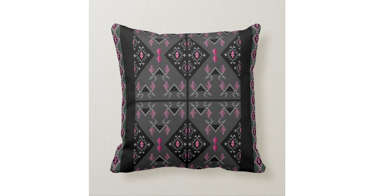 Decorative Pillows Black And Grey : Birds and grapes black and grey kilim pattern throw pillow Zazzle