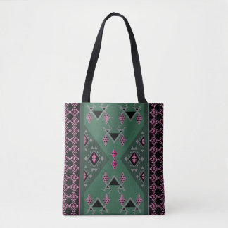 Birds and grapes green and pink kilim pattern tote bag