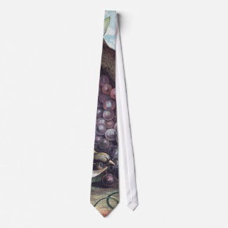Birds and Grapes Victorian Illustration Tie