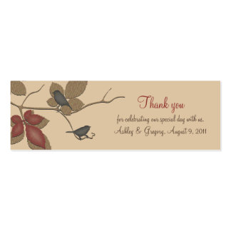 Birds and Leaves Fall Wedding Favor Tags Double-Sided Mini Business Cards (Pack Of 20)