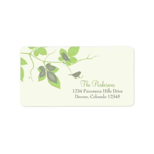 Birds and Leaves Wedding Address Labels
