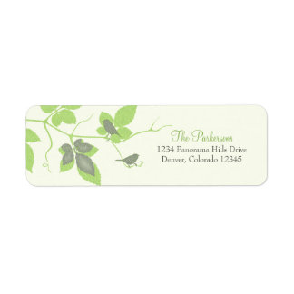Birds and Leaves Wedding Return Address Labels
